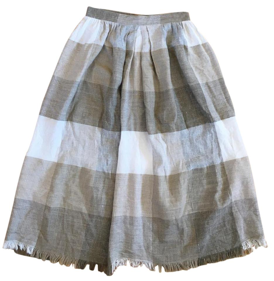 6a69a7073b Anthropologie Tan Off-white Gray Woven Checked A-line Skirt Size 4 ...