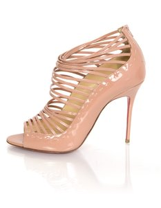Christian Louboutin Patent Leather Caged Open Toe nude Boots