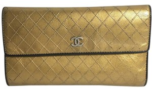 Chanel Authentic Chanel Gold Quilted Flap Wallet