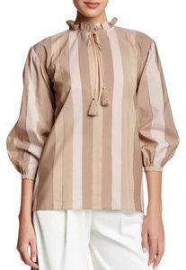 Rachel Zoe Striped 3/4 Sleeves Cotton Ruffles Top Petal Pink + Taupe