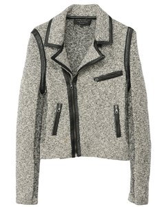 Rag & Bone And Leather Biker Grey Jacket