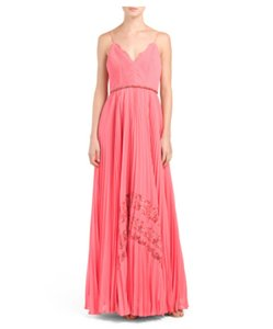 Badgley Mischka Pleated Beaded Spaghetti Straps Lace Dress