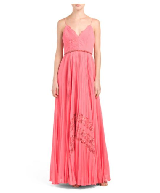 Badgley Mischka Coral Pleated Inset Lace Gown Long Formal Dress Size 8 (M) Badgley Mischka Coral Pleated Inset Lace Gown Long Formal Dress Size 8 (M) Image 1