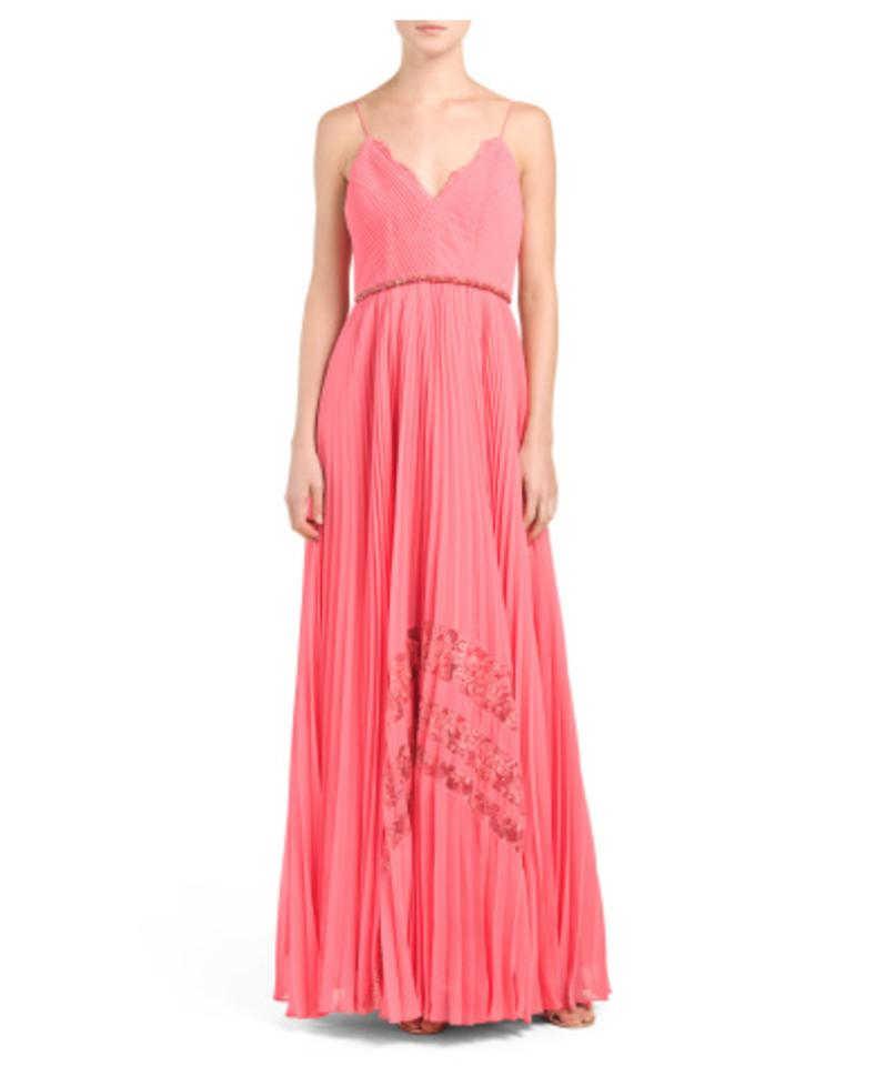 Badgley Mischka Coral Pleated Inset Lace Gown Long Formal Dress Size ...
