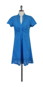 Elie Tahari short dress Cerulean Blue Cotton Eyelet Hem on Tradesy