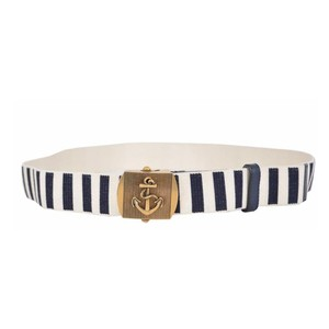Gucci Gucci Brass Anchor Buckle Stripped Canvas Belt 375191