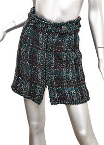 Chanel Tweed Sequin Boucle Mini Skirt Green