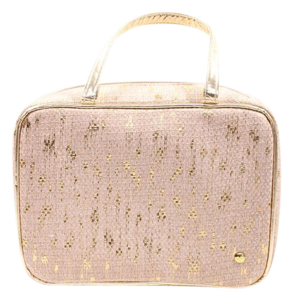 Stephanie Johnson Tan Gold Makeup Case Cosmetic Bag