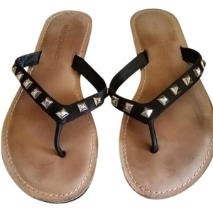 Rebecca Minkoff blk leather Sandals