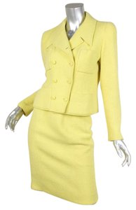 Chanel 96C VINTAGE Womens Chartreuse Yellow Mohair Tweed Skirt Suit