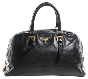 Prada Satchel in Black with gold and silver hardware