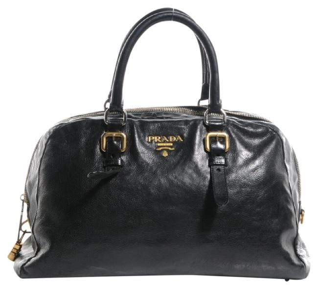 Item - Calf Bowler Black with Gold and Silver Hardware Leather Satchel