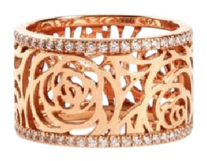 Chanel Chanel Camelia Ajoure Rose Gold and Diamond Wide Band Ring