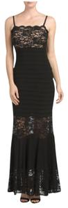 Xscape Lace Sheer Pleated Spaghetti Straps Dress