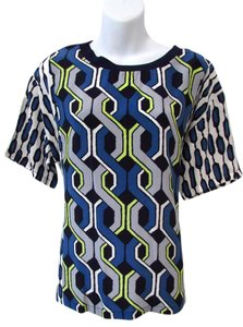 Trina Turk Bold Retro Geometric Top Blue/Yello