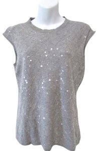 Iisli Sequin Sleeveless Top Heather Gray