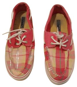 Sperry Boat Plaid Canvas Pink Plaid Flats