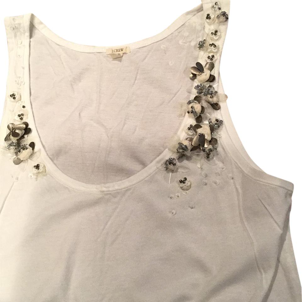 5547481a279dfd J.Crew White Embellished Tissue Tank Top Cami Size 6 (S) - Tradesy