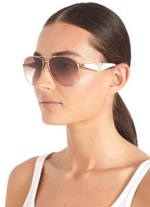 Prada Brand New PRADA PR53QS TRIANGLE ZVNOA6 Sunglasses White Gold