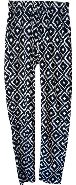 Mika & Gala Highwaisted Silky Printed Cross Relaxed Pants Black and white