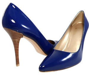 Stuart Weitzman Patent Leather Pointed Toe Stiletto Classic Blue Neon Pumps