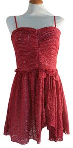 Jill Stuart short dress Red Lace Strapless Ruched Gathered on Tradesy