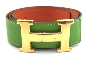 Hermès #11294 32Mm Gold H Size 76 Reversible Belt Green on Orange