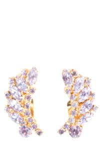 Other Gold Tone Clip On Earrings With Lavendar Crystals