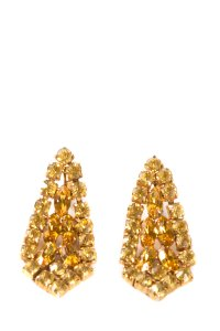 Other Vintage Gold Tone & Citrine Crystal Earrings