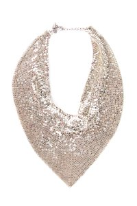 Whiting & Davis Silver-Tone Chain Mail Bib Necklace