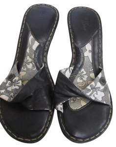 Børn Leather Black and white Wedges