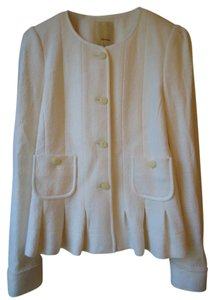 Anthropologie Elevenses Wool Blend Peplum ivory Blazer