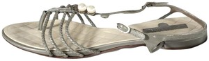 Chanel Gladiator Patent Leather T Strap gray Sandals