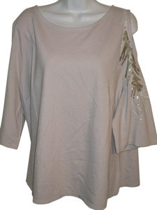 Lane Bryant Embellished Open 2x Tunic Top Gray