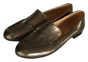 Robert Clergerie Loafers Embossed Leather Gold Flats