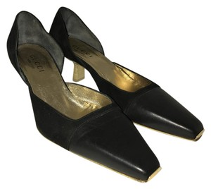 Gucci Leather Suede Wooden Kitten Square Toe black Pumps