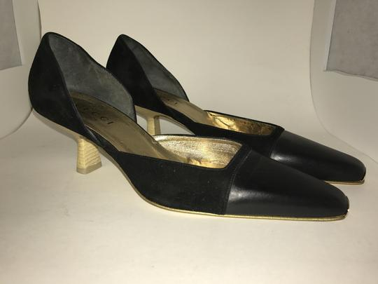 Gucci Leather Suede Wooden Kitten Square Toe black Pumps Image 1