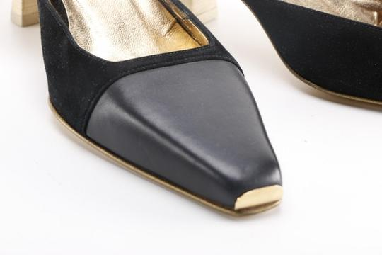 Gucci Leather Suede Wooden Kitten Square Toe black Pumps Image 2