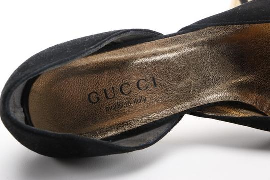 Gucci Leather Suede Wooden Kitten Square Toe black Pumps Image 7