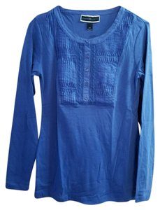 Karen Scott Longsleeve Henley Tee Cotton T Shirt Blue