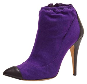 Chanel Ankle Leather Wool Purple Boots