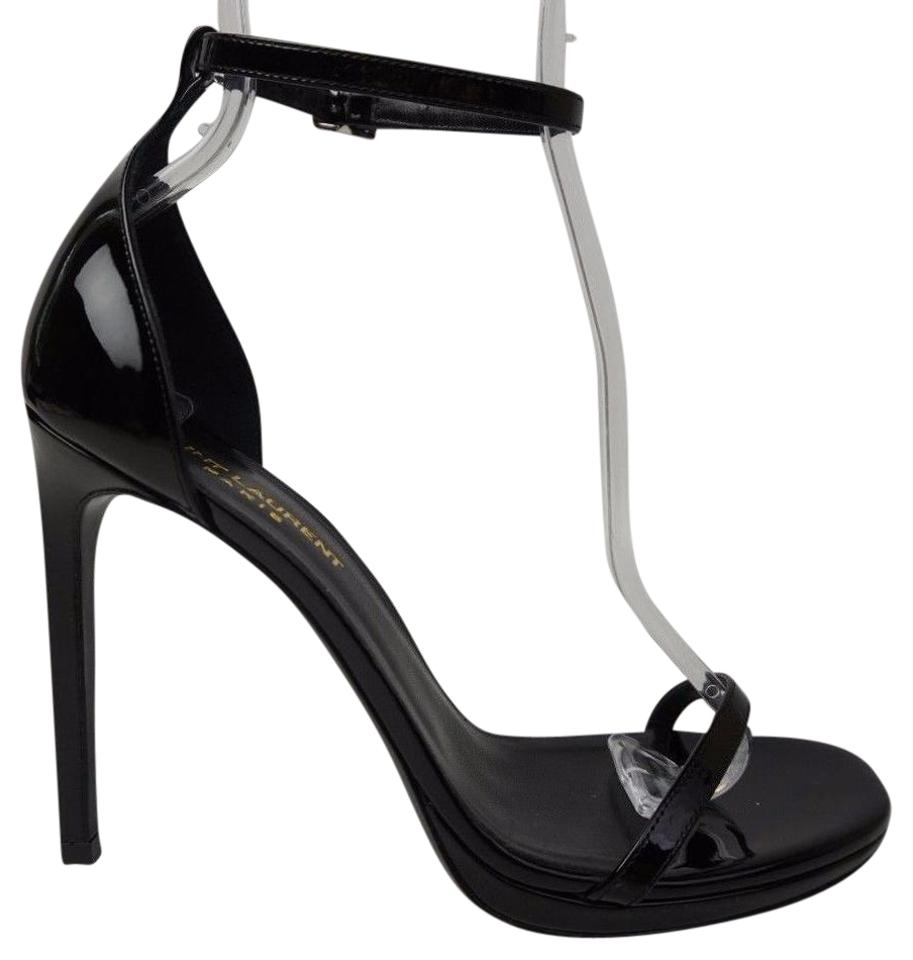 Saint Laurent Black Ankle Jane 110 Mm Patent Ankle Black Strap Women's Sandals 23251c