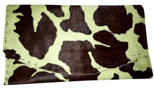 Other Animal Print Leather Fur Brown and green Clutch