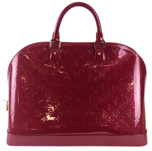 Louis Vuitton Alma Patent Leather Tote in Red