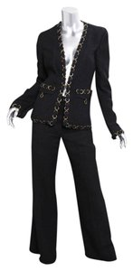 Chanel 02P Womens Classic Black Silk Chain Blazer Jacket Pant Suit Outfit