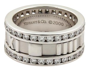 Tiffany & Co. ATLAS 1.50ct Diamond 18k White Gold Roman Numeral 9mm Wide Band Ring
