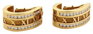 Tiffany & Co. ATLAS 2.20ct Diamonds 18k Yellow Gold Oval Curved Hoop Earrings