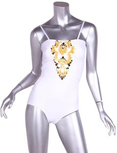 Chanel $7635 ULTRA RARE White Gold Beaded Sequin One-Piece Swimsuit