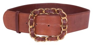 Chanel Womens Classic Brown Leather GOLD Chain Buckle Wide Belt