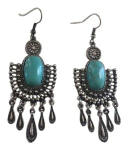 Free People Turquoise & Silver Shadowbox Southwestern Earrings
